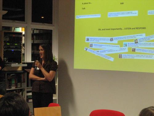 Rachel Beer introducing slideshow at nfptweetup, London