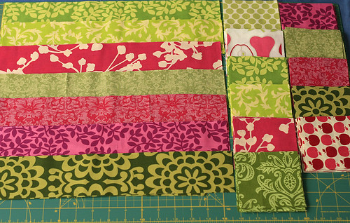 Green and Pink quilt all cut up