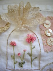 stitching sampler (skblanks) Tags: pink roses brown white hearts ruffles cross sampler stitch lace embroidery crochet cottage mother cream silk velvet pearls romantic ribbon pearl chic rayon seam binding rhinestones shabby edging bouillion ruching