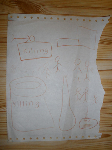 H was telling me a Sri Lankan story, and illustrated it while telling! :O