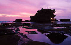 Pura Tanah Lot, Bali (joeychiu) Tags: ocean pink sunset bali reflection water indonesia island temple nikon rocks purple hinduism reflexions pura tanahlot  evaair  18200vr d80   joeychiu