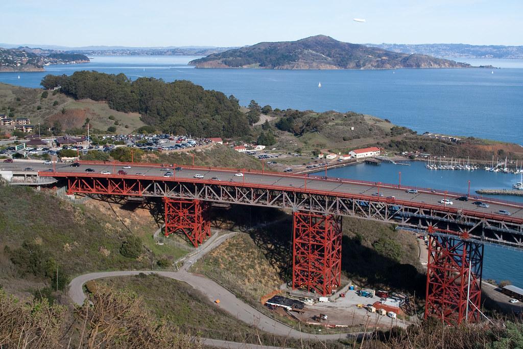 A section of Golden Gate Bridge plus Angel Island
