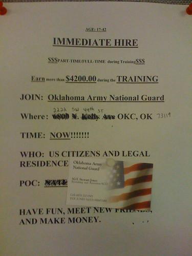 Oklahoma Army National Guard advertisement at OKCPS