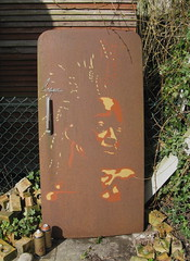 afro punk - rusted fridge door London show (asboluv) Tags: show door march fridge stencil 60s rust decay 19th afropunk asbo afrogirl grafikwarfare coldspot asboluv bazzart
