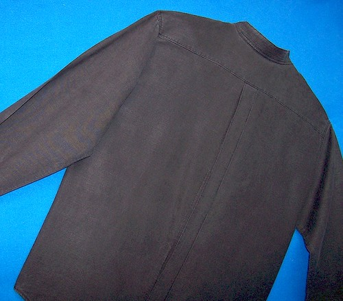 Black Silk-Hemp Mens Shirt--Back Topstitched Pleat
