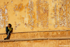 And no one deared disturb the sound of silence (flavita.valsani) Tags: blue boy india green yellow wall solitude alone decay 206 explore silence jaipur rajasthan amberfort ndia explorefrontpage valsani duringmyelefantride withmysisbb