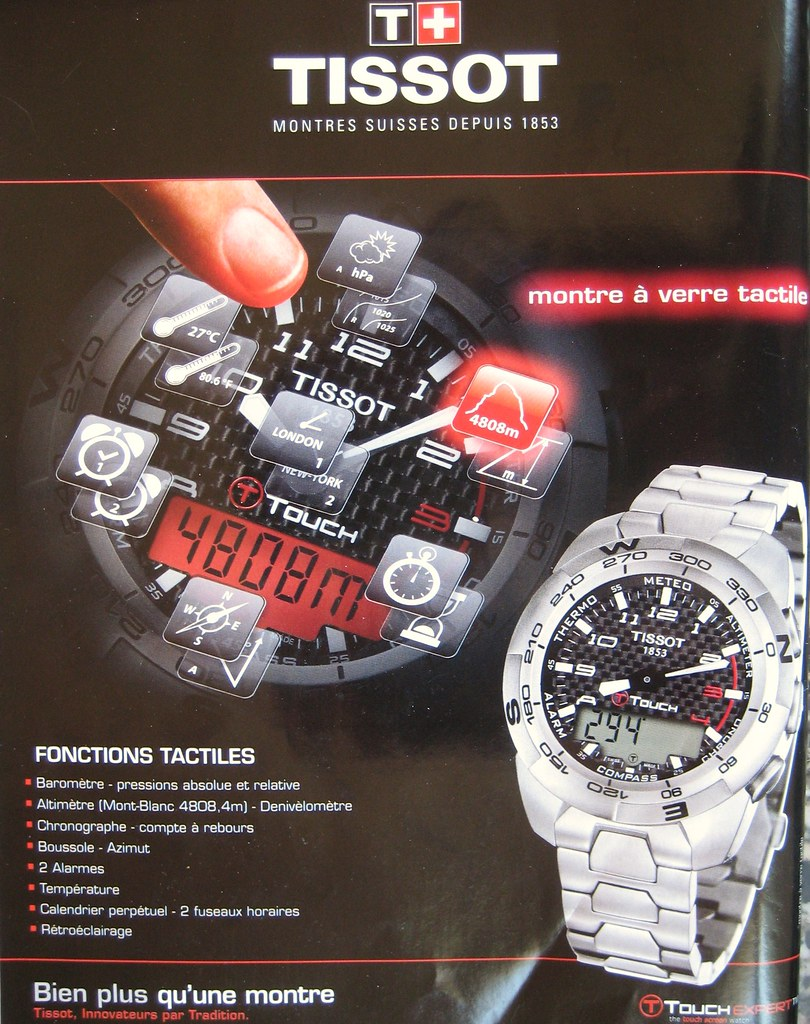 Publicité montre Tissot tactile