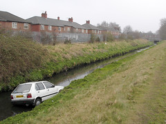 Micra in Gore Brook (kh1234567890) Tags: uk england car river manchester nissan cyclepath micra fallowfield dumped plattbrook fallowfieldloop gorebrook