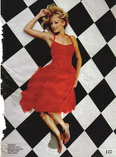 Seventeen December 2005 Nicole Richie Armani Exchange Red Dress