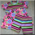 Retro Floral Swing Top and Stripe Shorts  2pc set