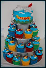Plane Cupcake Tower (TheLittleCupcakery) Tags: birthday blue red green yellow cake clouds plane cupcakes little 1st aeroplanes tlc cupcakery xirj klairescupcakes