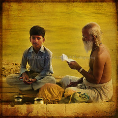 The Golden Lectures (designldg) Tags: travel boy people india man heritage water yellow youth gold amber student colours child religion atmosphere panasonic human soul elder devotion varanasi tradition spiritual shanti hindu hinduism kashi soe ganga ganges ghats benaras uttarpradesh  corporeal indiasong platinumphoto brahnam dmcfz18 tff1