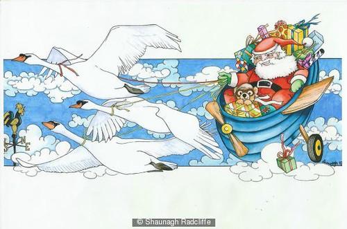 Swans (Santa) by Shaunagh Radcliffe