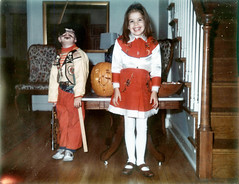 Red Cowgirl & Pirate Halloween costumes (Brechtbug) Tags: red pirate struggling adjustable eye patch hatless cowgirl halloween costumes 1968 vintage pumpkin polaroid photo family life portrait holiday 1960 1960s credit shirley reed brechtbug