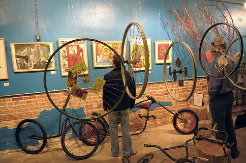 Photo by Ajit Bhand. The Dreamer Concepts Foundation presented Dreamer 18: Bicyclette, an exhibit of works and activities associated with the bicycle culture.  Featured artists include Kristopher Kanaly, Cody Lanphier, Kim Rice and KW Satterfield. (Click for larger version.)