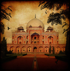 Converting dreams into reality (designldg) Tags: travel sunset india building heritage birds architecture clouds spectacular evening heaven colours delhi muslim perspective dream atmosphere symmetry panasonic soul ethereal geometrical mughal भारत humayuntomb indiasong dmcfz18 hourofthesoul
