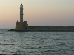 lighthouse hania chania sunset