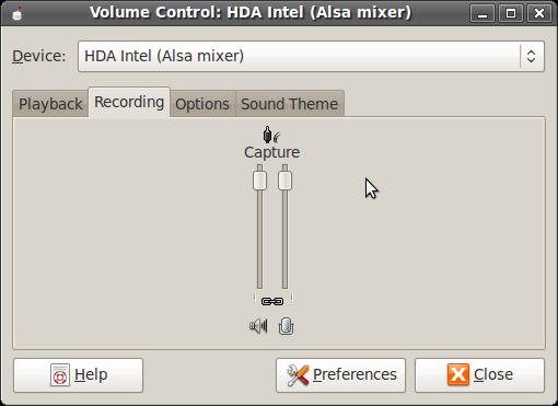 HDA Intel (Alsa mixer) Recording Tab