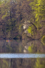 Marsh Creek Lake Spring Color (No_clever_names_left (Michael Lawrence)) Tags: reflections morninglight pennsylvania kayaker chestercounty downingtown canonef100400mmf4556lisusm springcolor marshcreeklake canoneos40d marshcreeklakestatepark singhrayvarinduofilter