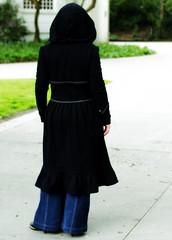Prairie Hoody (SelenaBrooke) Tags: black clothing big dress photoshoot recycled tshirt jacket hoody hood prairie zig trim zag pleats jenniferrene selenaeon