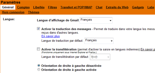 gmail traduction