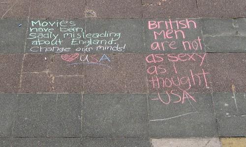Chalk Based Discussion Forum on Brighton Beach - A Community Emerges