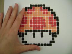Mario Mushroom Mosaic (DIY Sara) Tags: red orange white black art nerd mushroom paper construction geek glue craft super mario dork