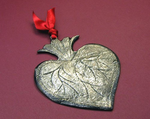Mexican Silver Patina Heart Milagro