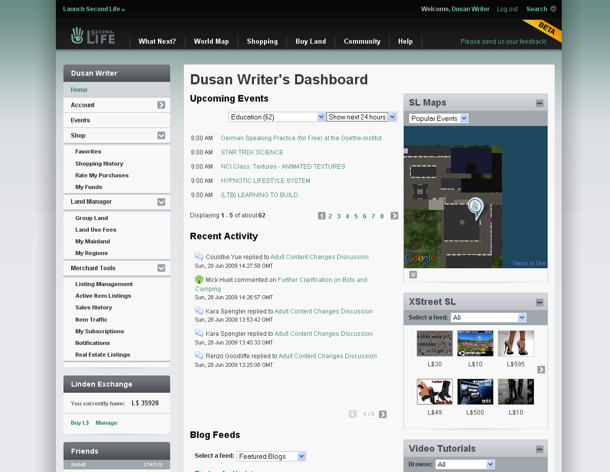 Second Life Web site dashboard