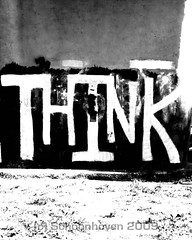 Think (It's Not Illegal Yet) 07.03.2009 (Jonathan Schoonhoven) Tags: blackandwhite oregon graffiti thought think eugene