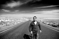 desert road (eb78) Tags: road blackandwhite bw monochrome desert noiretblanc empty nevada roadtrip nv grayscale greyscale