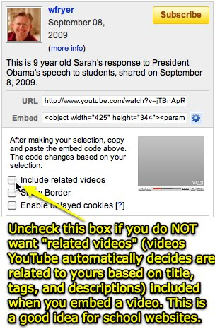 Choose NOT to include related YouTube videos when you embed