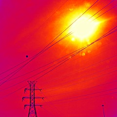 Powered by the Sun (Heatmapped Thermal Version) (FlipMode79) Tags: light sun abstract color lines sunshine bokeh powerlines dcist sunrays thermal heatmap sliderssunday flipmode79