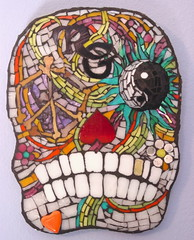 Mr. Groovy (MysticMosaics) Tags: flowers dayofthedead skull heart teeth bones brightcolors psychedelic peacesign yingyang groovy initial mexicanart dadelosmuertos glassmosaic hippychic mosaicart stainedglassmosaic mosaicwallart mysticmosaics mosaicskull allsoulsdayart