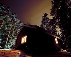 night cabin (-12C) Tags: winter snow cabin sweden 4x5 sverige 365 stuga 050 vrmland rinn d90 project3661 tokina1116mmf28
