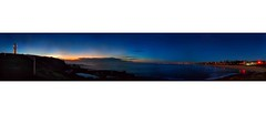 Wollongong Women's Baths Dawn (fischstarr) Tags: blue sky panorama lighthouse sunrise dawn lights nikon tripod womens baths 1855mm wollongong d40x handstitchedinpart
