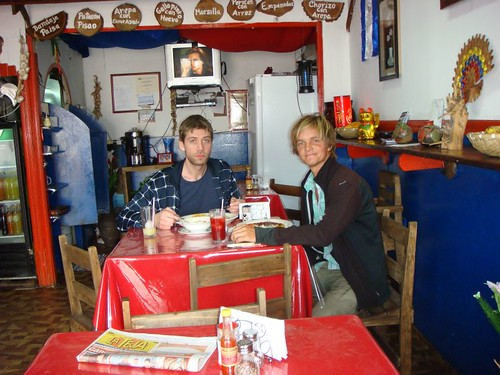 Rune and I in a comedor (local eatery) in San José, Costa Rica.