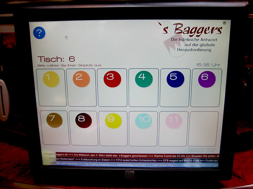 's Baggers, Nuremburg Touch Screen Menu