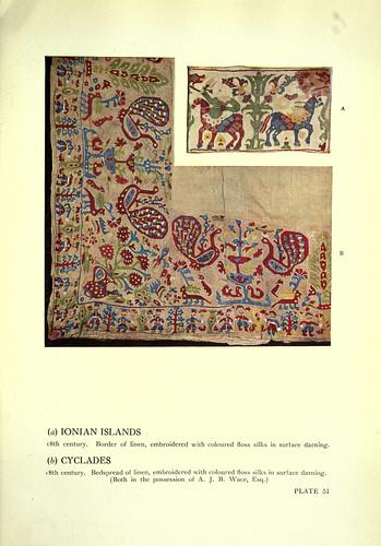 021-A-bordado de las islas jonicas-B bordado de las Ciclades ambos siglo XVIII
