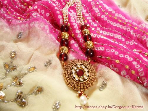 Kundan, Enamel, Pearl - Rajasthani Necklace