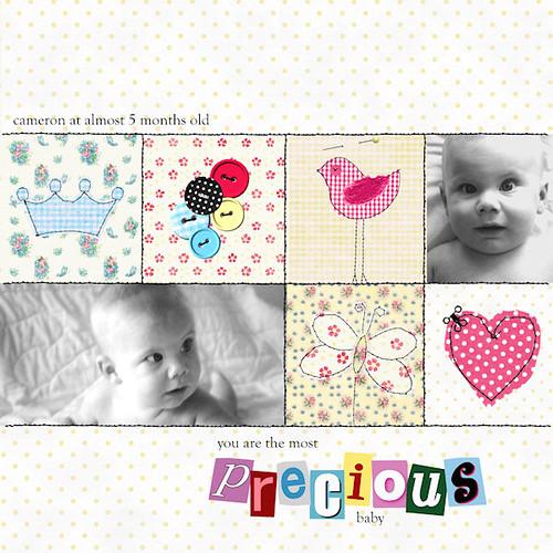 CropMom online scrapbooking: baby scrapbook page