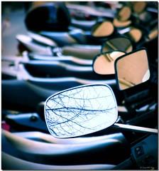 Rear views / Miradas atrás (SantiMB.Photos) Tags: barcelona españa bike reflections mirror lomo xprocess procesocruzado spain dof crossprocess branches mirrors depthoffield moto catalunya retrovisor reflejos espejos ramas wingmirror pedralbes blueribbonwinner sarrià bej produndidaddecampo sortidazz rubyphotographer