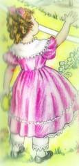 little girl in a pink dress (estelle & ivy) Tags: illustration children 1957 picturebook nurseryrhymes mothergoose thechildsworld