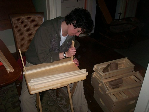 waldie putting together bee box frames