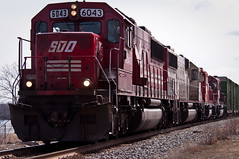 SOO 6043 along the Mississippi River (vidular) Tags: railroad minnesota train nikon track engine engines mississippiriver sooline mn railfan lightroom freighttrain d90 wscf 6043 rt61 nikon80400f4556afvr emdsd60