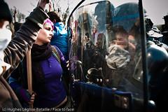 (Hughes Léglise-Bataille) Tags: black france reflection topf25 girl faces mask police strasbourg demonstration reflet wig summit shield block 2009 fra nato manifestation masque sommet otan cagoule bouclier