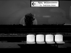there's only one way... (Anna Galanou) Tags: travel bw reflection station train blackwhite am hellas greece direction macedonia seats thessaloniki salonica emptyseats makedonia      theunforgettablepictures       annagal  annagalanou  wwwannagalanoucom