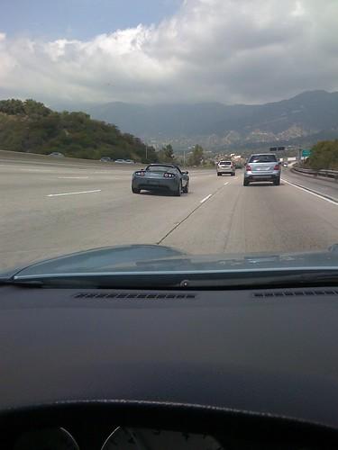 Tesla roadster in the wild