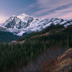 Dreamy Shuksan (Mike Hornblade) Tags: trees winter clouds landscape mtbaker mtshuksan d700