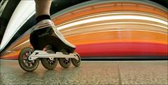 ReD & WHiTe FLaSH (Toni_V) Tags: longexposure red motion blur me station train schweiz switzerland movement europe zurich skating zug fisheye inline rollerblading zrich ich 2009 105mm bont szu selnau toniv theperfectphotographer reflectyourworld